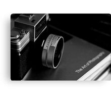 Vintage Nikon Camera Photography - Black and White Canvas Print