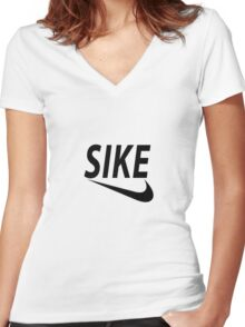 SIKE Women's Fitted V-Neck T-Shirt
