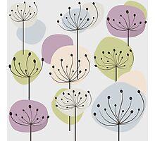 Pastel dandelion flowers background Photographic Print