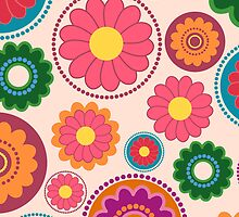 Seamless colorful flower pattern by Ana Marques