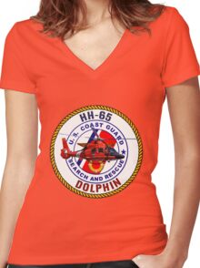 HH-65 Dolphin  USCG SAR Women's Fitted V-Neck T-Shirt