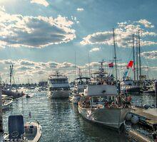 Boats In Newport Harbor by Jane Neill-Hancock