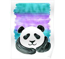 Lazy Panda on Mint & Violet Poster