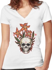psychedelic skull flowers Women's Fitted V-Neck T-Shirt
