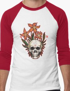 psychedelic skull flowers Men's Baseball ¾ T-Shirt