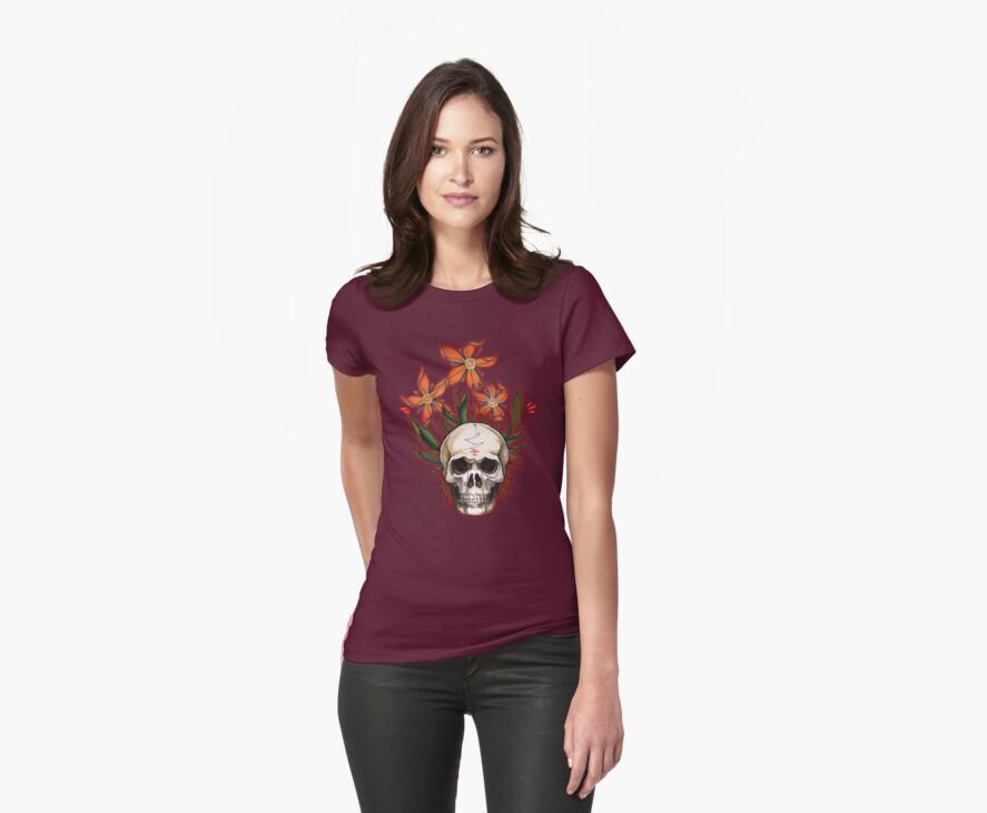 psychedelic skull flowers by resonanteye