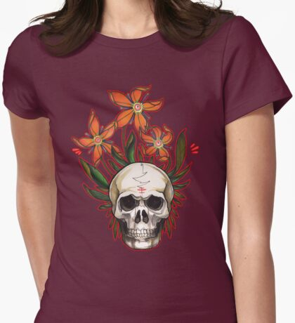 psychedelic skull flowers Womens Fitted T-Shirt
