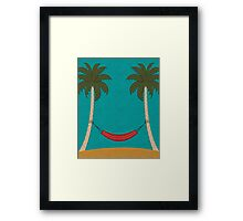 Tropical Beach with Palm Trees and a Hammock Framed Print