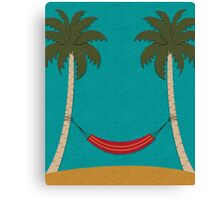Tropical Beach with Palm Trees and a Hammock Canvas Print