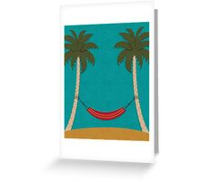 Tropical Beach with Palm Trees and a Hammock Greeting Card