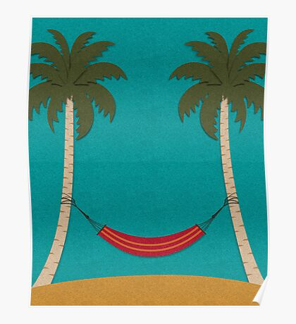 Tropical Beach with Palm Trees and a Hammock Poster