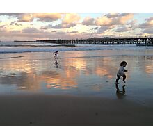 Beach, eclipse-lit Photographic Print