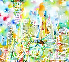 STATUE OF LIBERTY - watercolor portrait by lautir