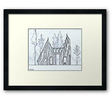 House and Contemplation Tower Framed Print