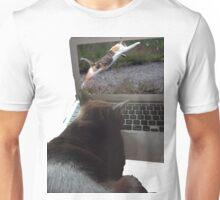 Cat watching a cat Unisex T-Shirt