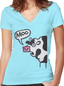 Cow top Women's Fitted V-Neck T-Shirt