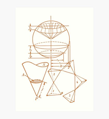 Vintage Math Diagrams - sepia Art Print