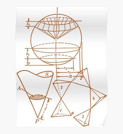 Vintage Math Diagrams - sepia Poster