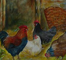 Chicken on farm I by Sonja Peacock