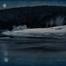 Moonset Sheepscot River by Dave  Higgins