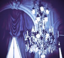 Rose Cliff Mansion Newport Blue Chandelier by Elizabeth Thomas