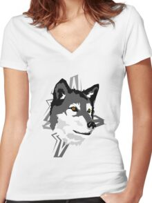 Wolf in the Woods Women's Fitted V-Neck T-Shirt