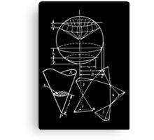 Vintage Math Diagrams - white on black Canvas Print