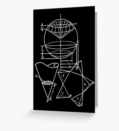 Vintage Math Diagrams - white on black Greeting Card