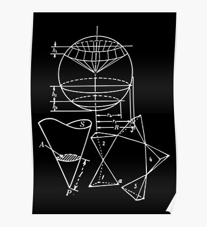 Vintage Math Diagrams - white on black Poster