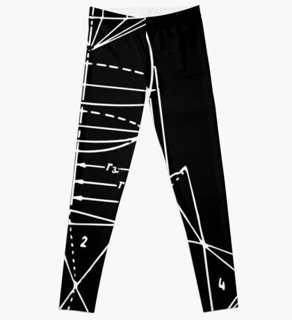 Vintage Math Diagrams - white on black Leggings