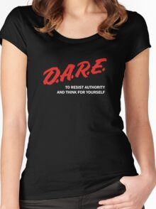 DARE TO RESIST AUTHORITY Women's Fitted Scoop T-Shirt