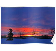 Winter Sunrise on the Prairies Poster