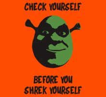 Check Yourself Before You Shrek Yourself (Black and Green) Kids Clothes