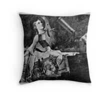 The Lady of Shalott with Lancelot as a Gargoyle. Throw Pillow