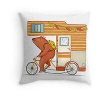 Runaway bear Throw Pillow