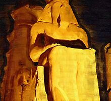 Sitting Ramesses II Colossus inside Luxor Temple, Egypt by deanstravelart