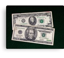 The Ever Changing $20 Dollar Bill - Canvas Print