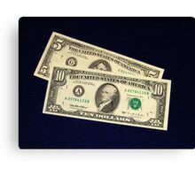The Classic Old 1995 Five & Ten Dollar Bills - Canvas Print