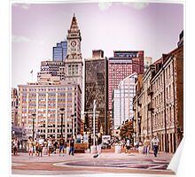 Boston City Skyline Poster