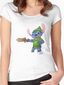 Stitch in Neverland Women's Fitted Scoop T-Shirt