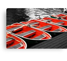Little Red Rowing Boats Canvas Print