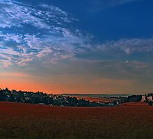 Small rural town skyline at sunrise II | landscape photography by Patrick Jobst