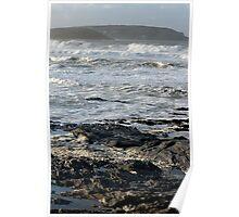 Stormy Sea, Newtrain Bay, Cornwall Poster
