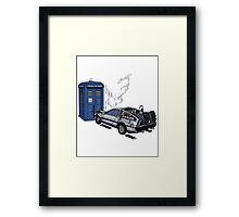 DeLorean vs Tardis [Drawing] Framed Print