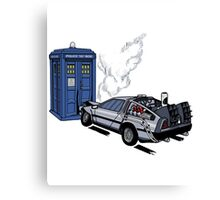 DeLorean vs Tardis [Drawing] Canvas Print