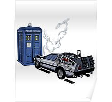 DeLorean vs Tardis [Drawing] Poster