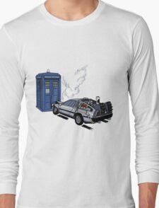 DeLorean vs Tardis [Drawing] Long Sleeve T-Shirt