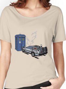 DeLorean vs Tardis [Drawing] Women's Relaxed Fit T-Shirt