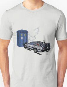 DeLorean vs Tardis [Drawing] Unisex T-Shirt