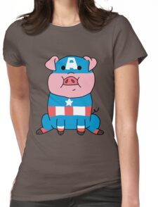 Captain Ameripig Waddles Womens Fitted T-Shirt